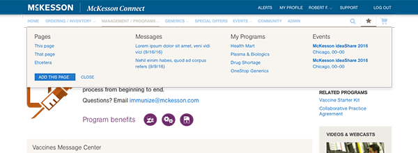 McKesson Connect portal redesign favorites