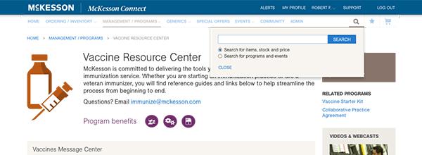 McKesson Connect portal redesign search