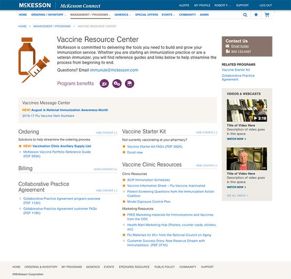 McKesson Connect portal redesign program page